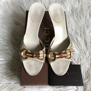 Gucci Raffia Leather Bamboo Horsebit Heeled Sandal